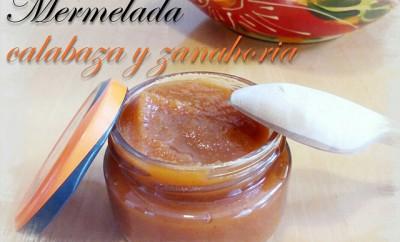 mermelada de calabaza y zanahoria junto a una cuchara de madera de boj