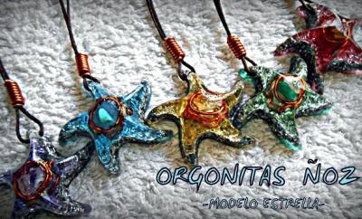 varios colgantes orgonita con forma de estrella